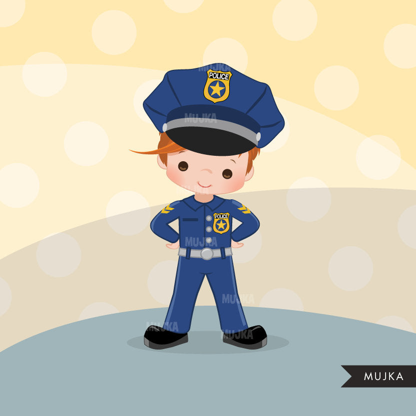 Cops, boy police officer clipart