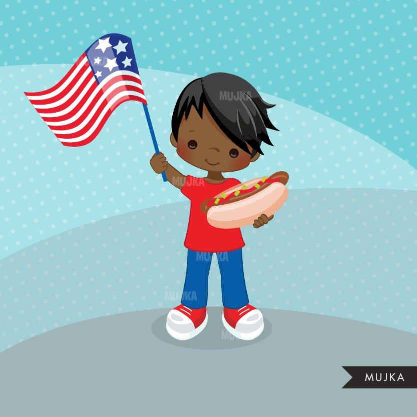 4th of July Clipart. Patriot Boys with hot dog & American Flag black boy