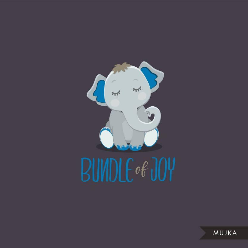 Blue elephant baby shower clipart