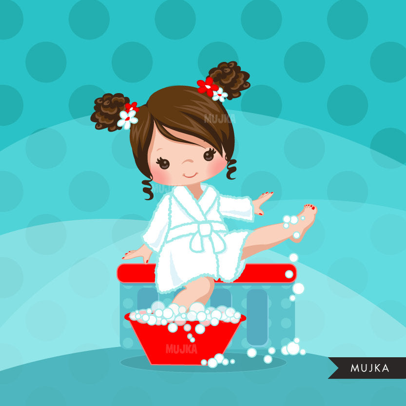 Spa party girl clipart graphics