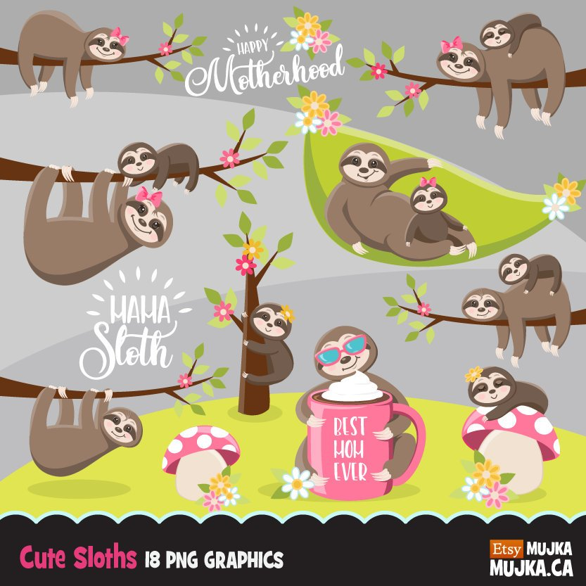 Sloth, animal clipart spring