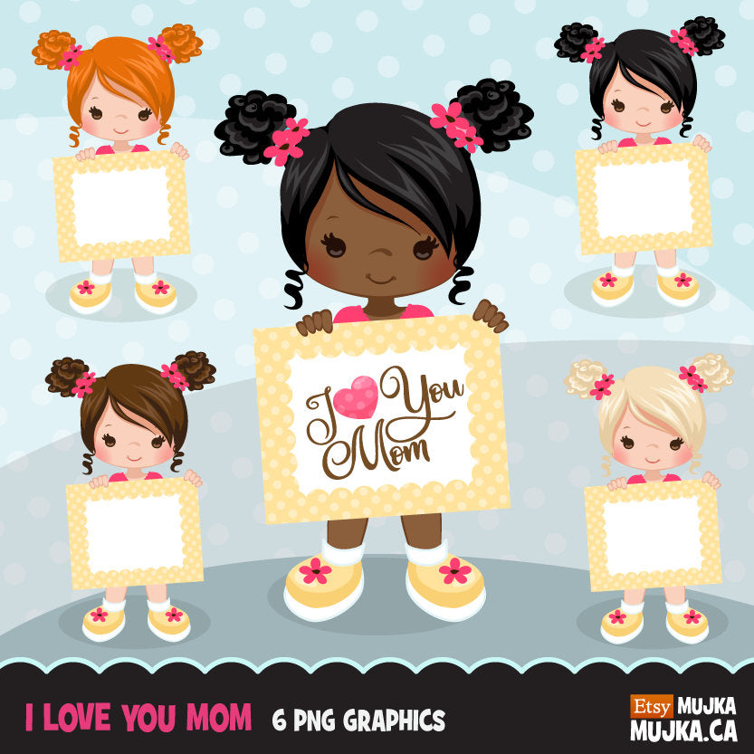 Mother's Day Clipart, Little girl graphics