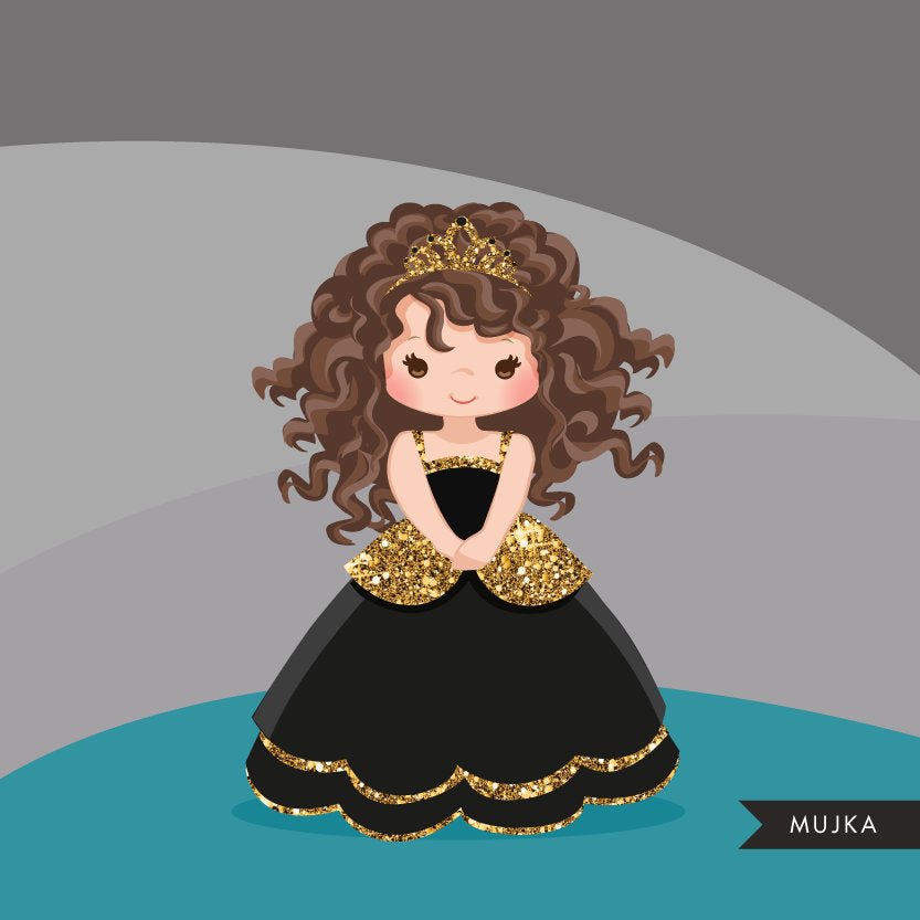 Gold glitter princess, black girl clipart