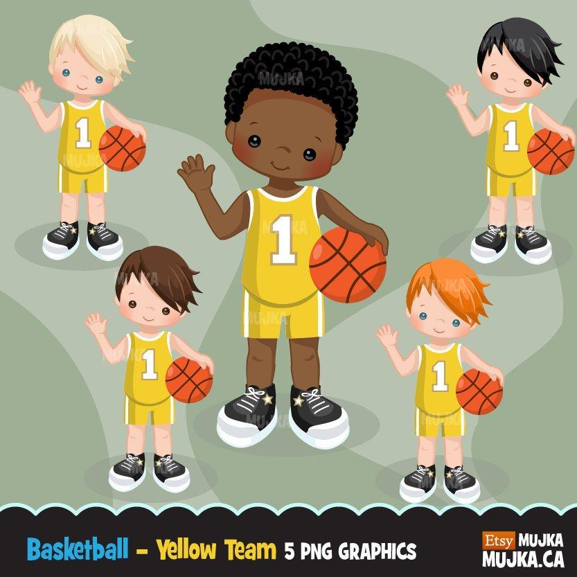 Basketball Boy yellow jersey clipart