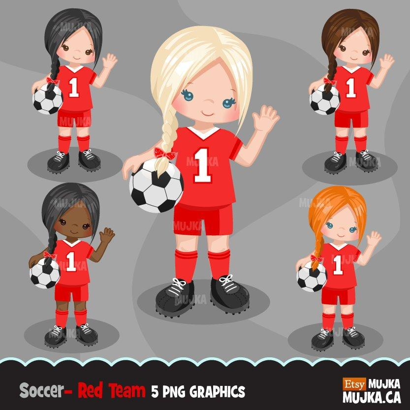 Soccer clipart, girl in red and white jersey