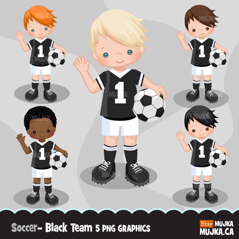 Soccer clipart, boy in black jersey