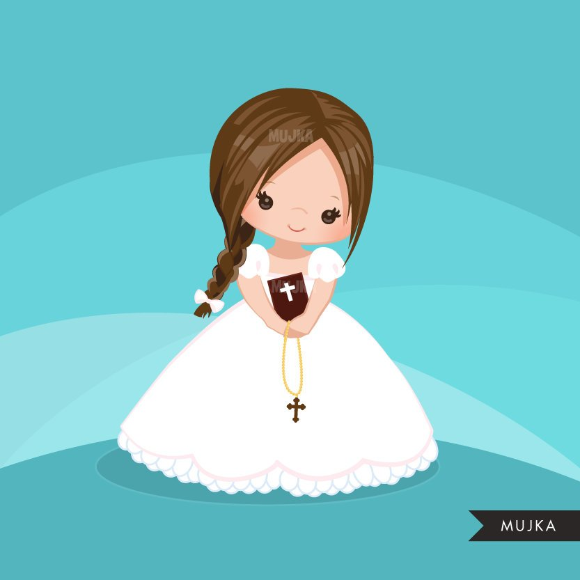 First Communion Clipart for Girl. Communion character religious
