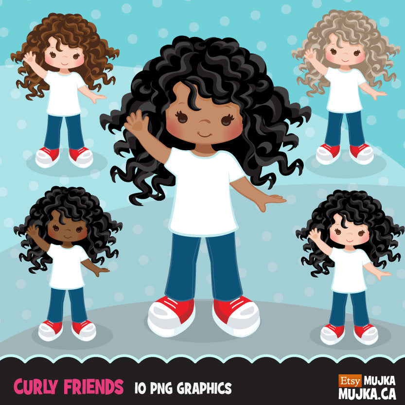 Little girl clipart graphics, curly haired friends