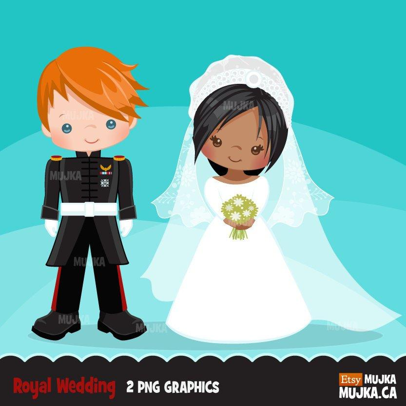 Royal wedding clipart, girl and boy wedding