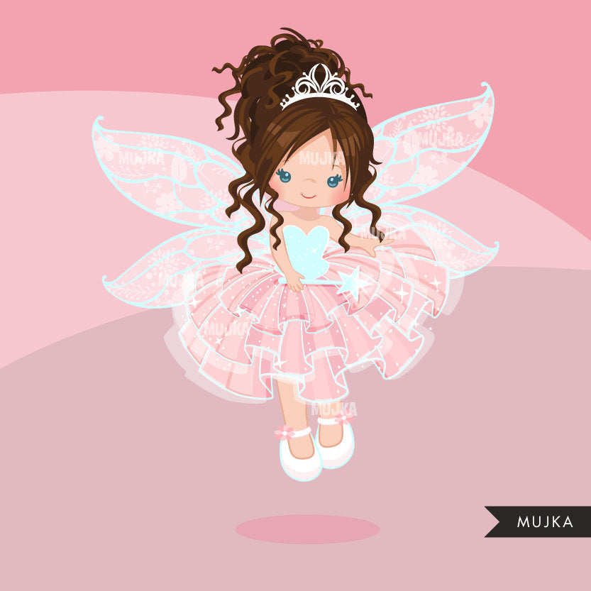 Pink Fairy clipart, girl with curly hair