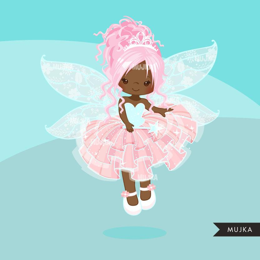 Pink Fairy clipart, dark skin girl with pink hair