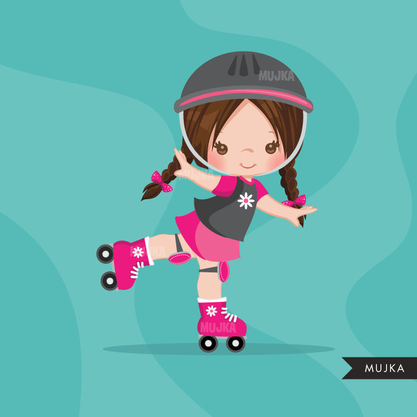 Roller Skating girl Clipart