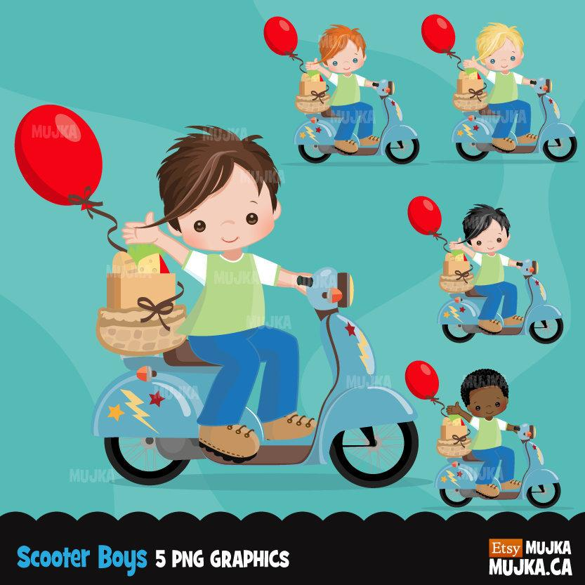 Scooter boy Clipart