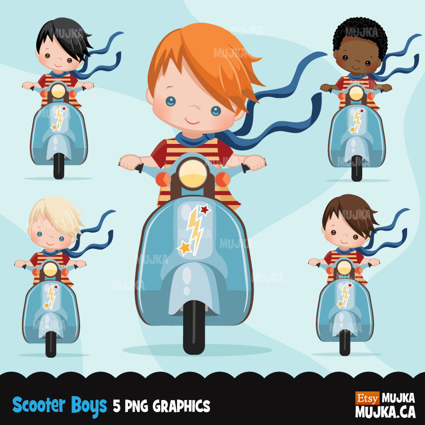 Scooter boy Clipart, front version
