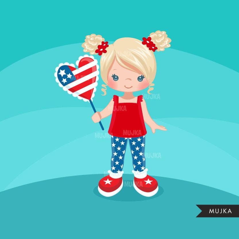 4th of July Clipart. Cute Little Girls with American Flag balloon black girl