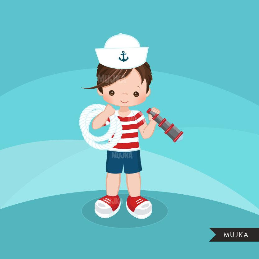 Sailor Clipart, Boy in red stripes