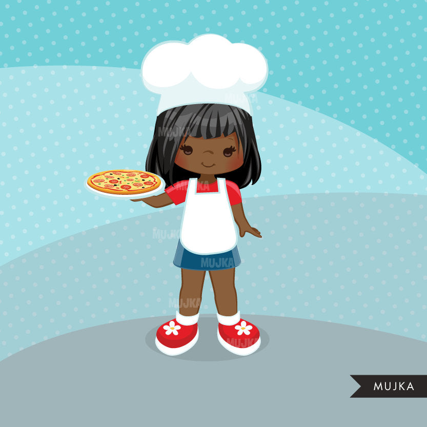 Pizza Chef Clipart, girl chef