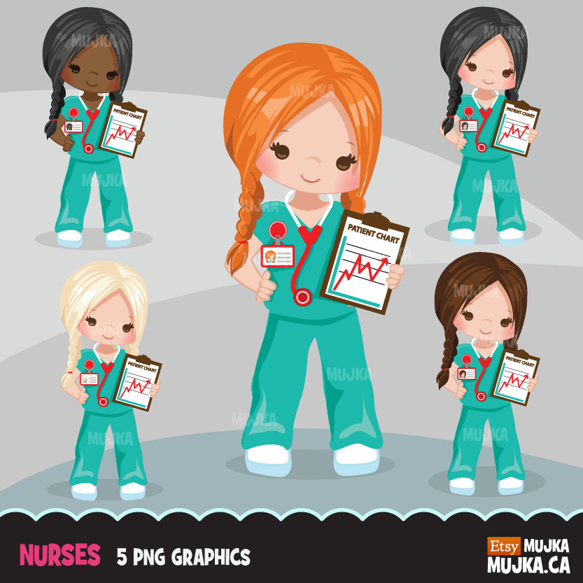 Nurse Clipart, girl in braids at work