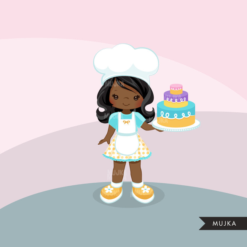 Cake Girl Chef Clipart