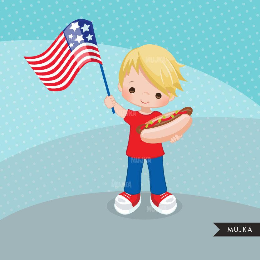 Free 4th of July Clipart. Patriot Boys with hot dog & American Flag black boy