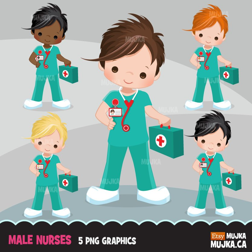 Male Nurse Clipart, Cute boy nurse