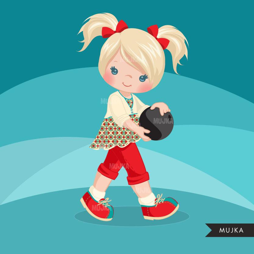 Girl Bowling Clipart