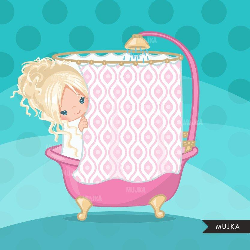 Shower party girl clipart graphics