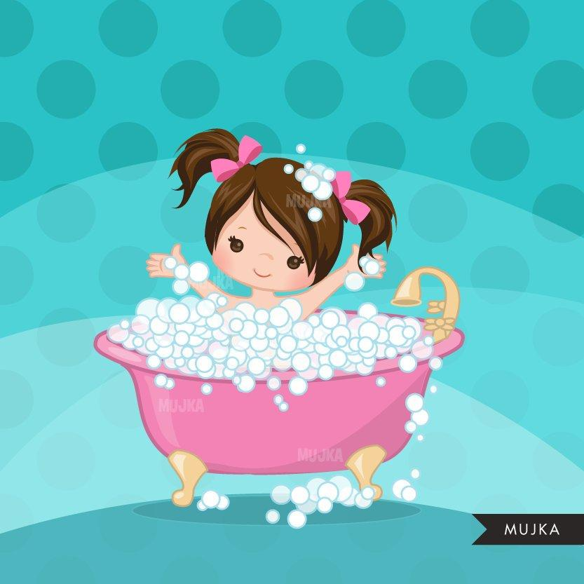 Spa party girl clipart