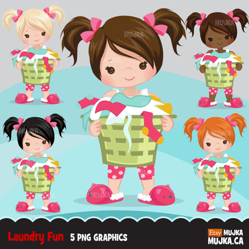Laundry, cleaning girl clipart graphics