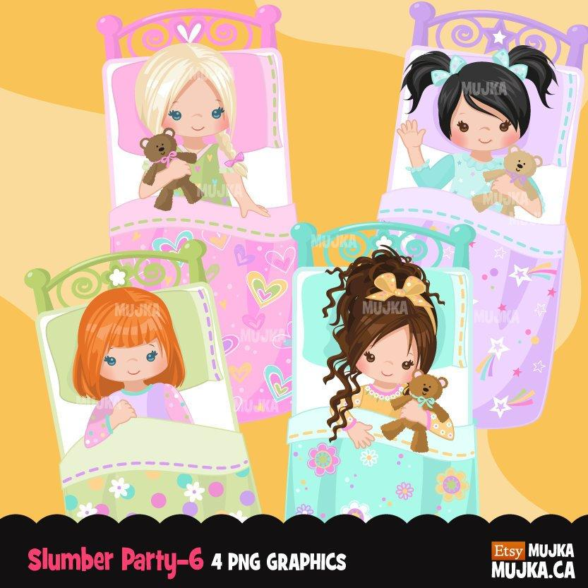 Girl Slumber party clipart