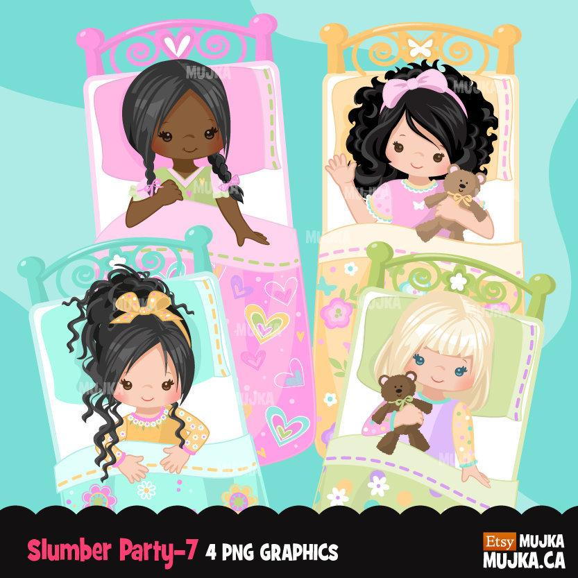 Girls Slumber party clipart