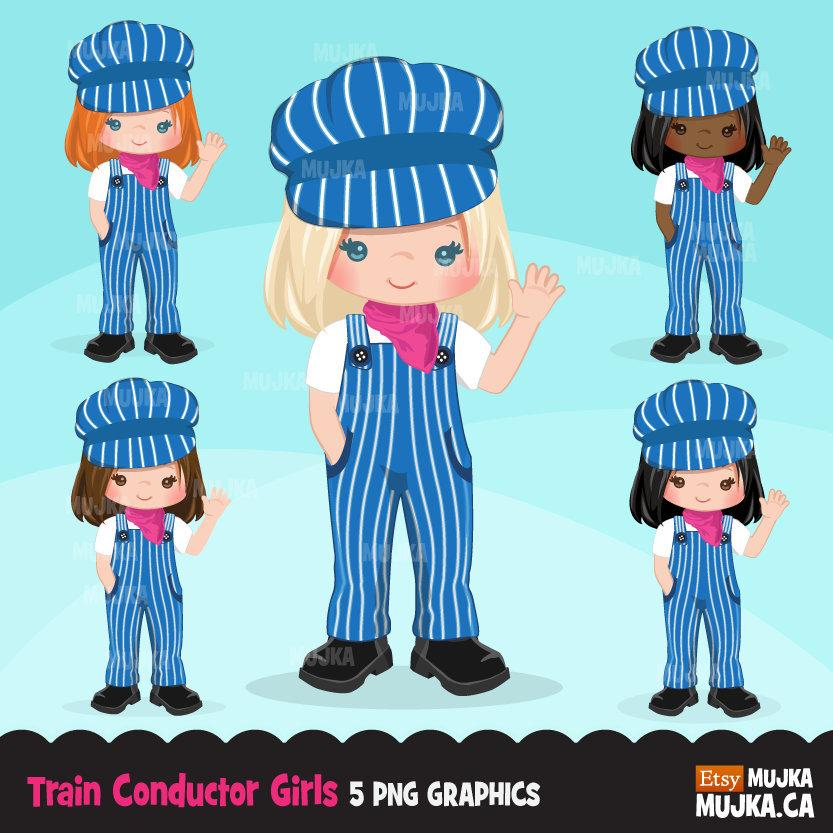 Train conductor clipart, girls