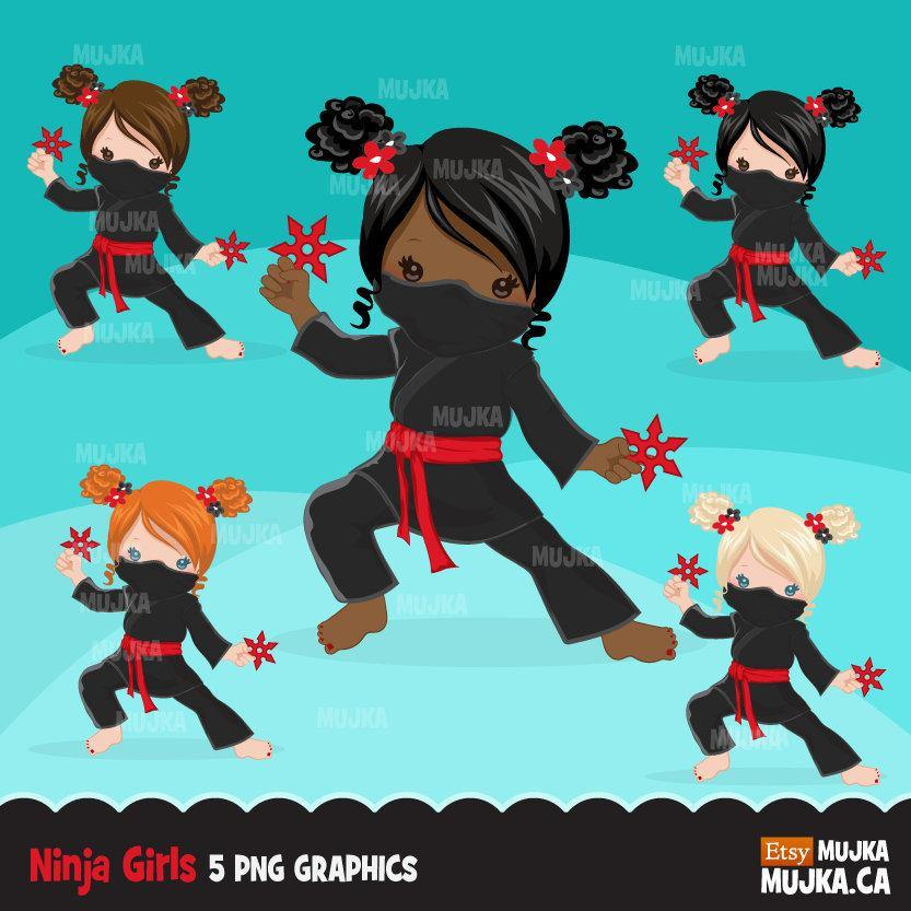 Ninja Clipart. Girl Ninja birthday, afro