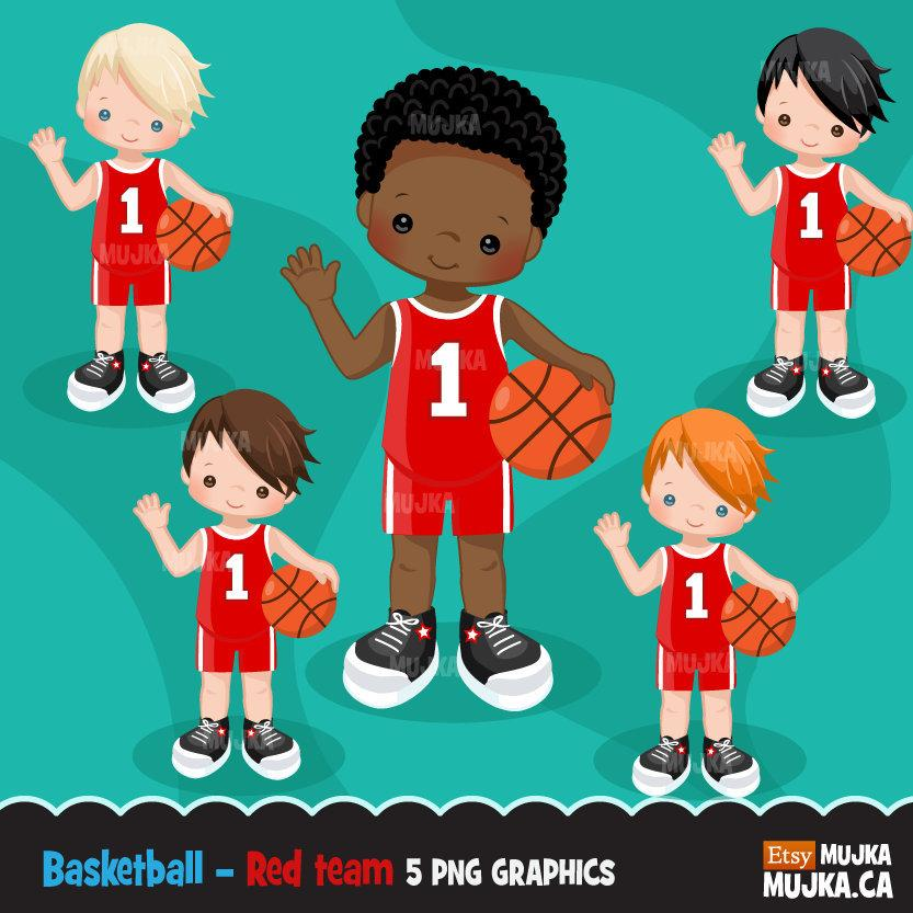 Basketball Red Boy clipart