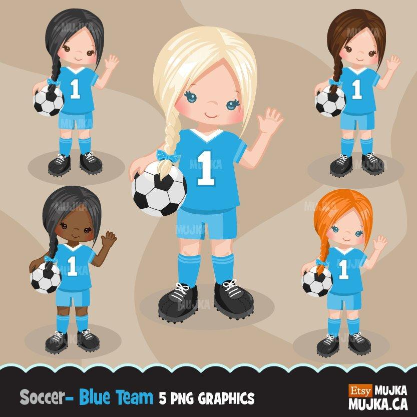 Soccer clipart, girl in blue jersey