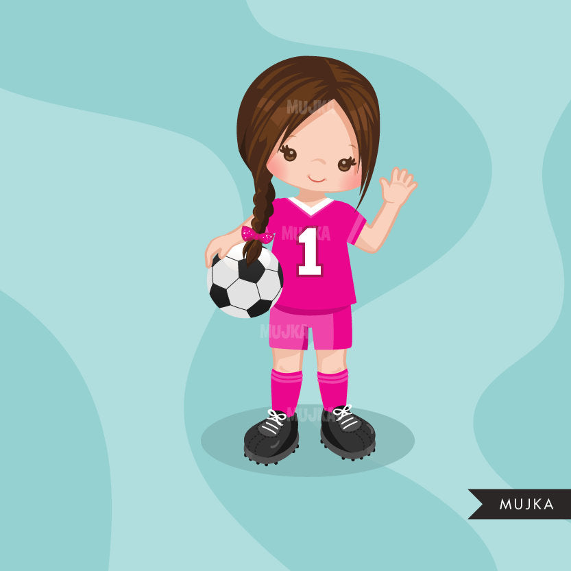 Soccer clipart, sporty girl in braids