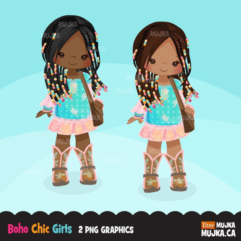 Braided hair little black girl clipart