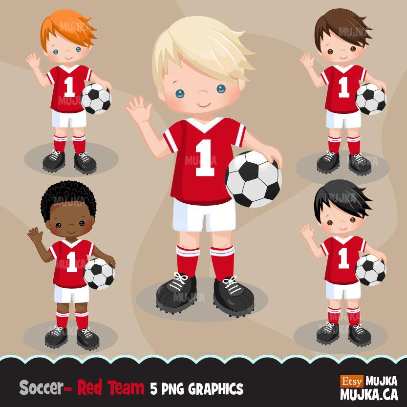 Soccer clipart, boy in red and white jersey