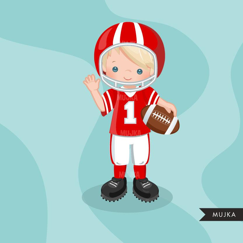 Football clipart, boy in red jersey