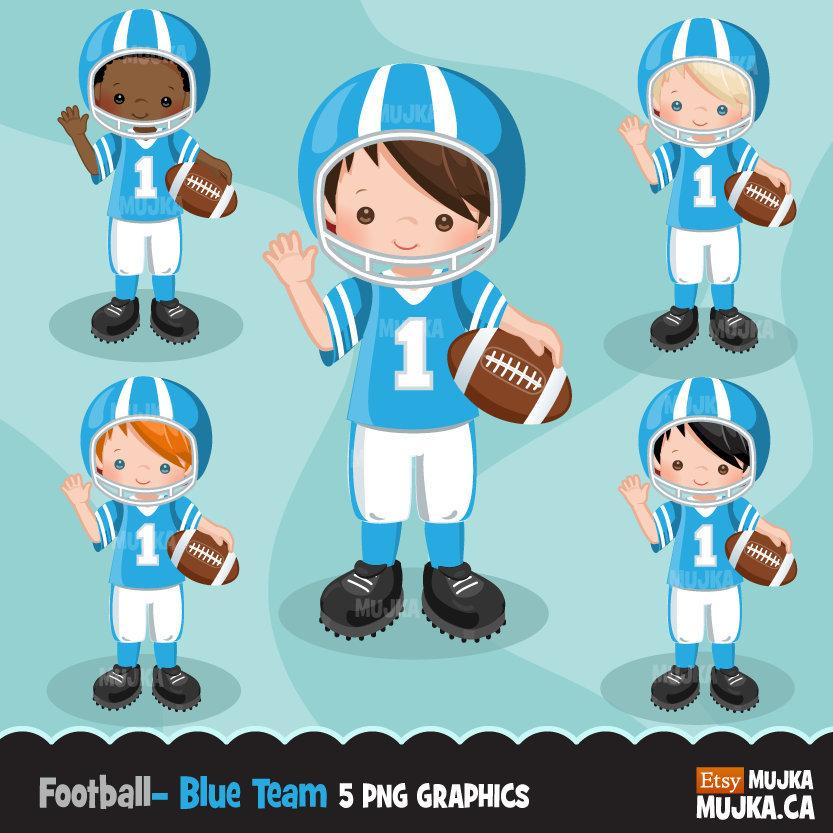 Football clipart, boy in blue jersey