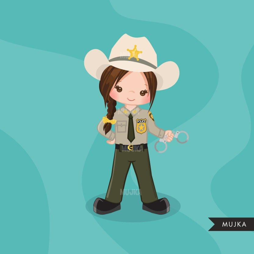 Sheriff, Girl Cops, female police officer clipart