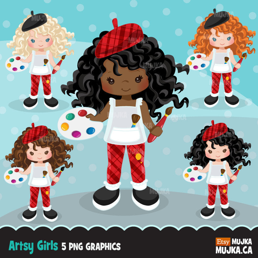Black Artist painter Clipart - African American girl