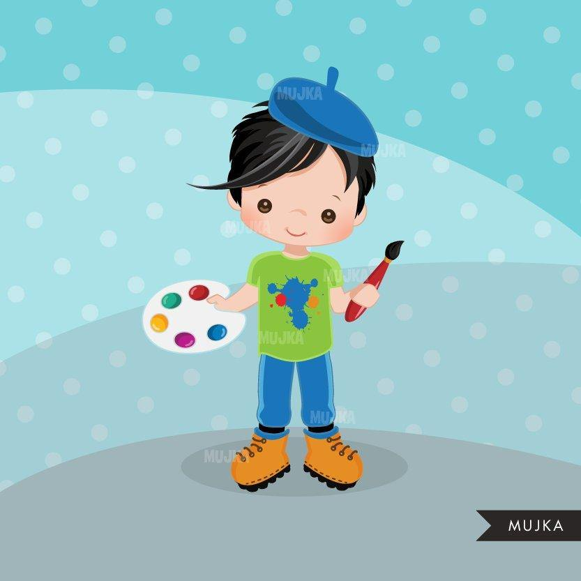 Artist painter boy Clipart