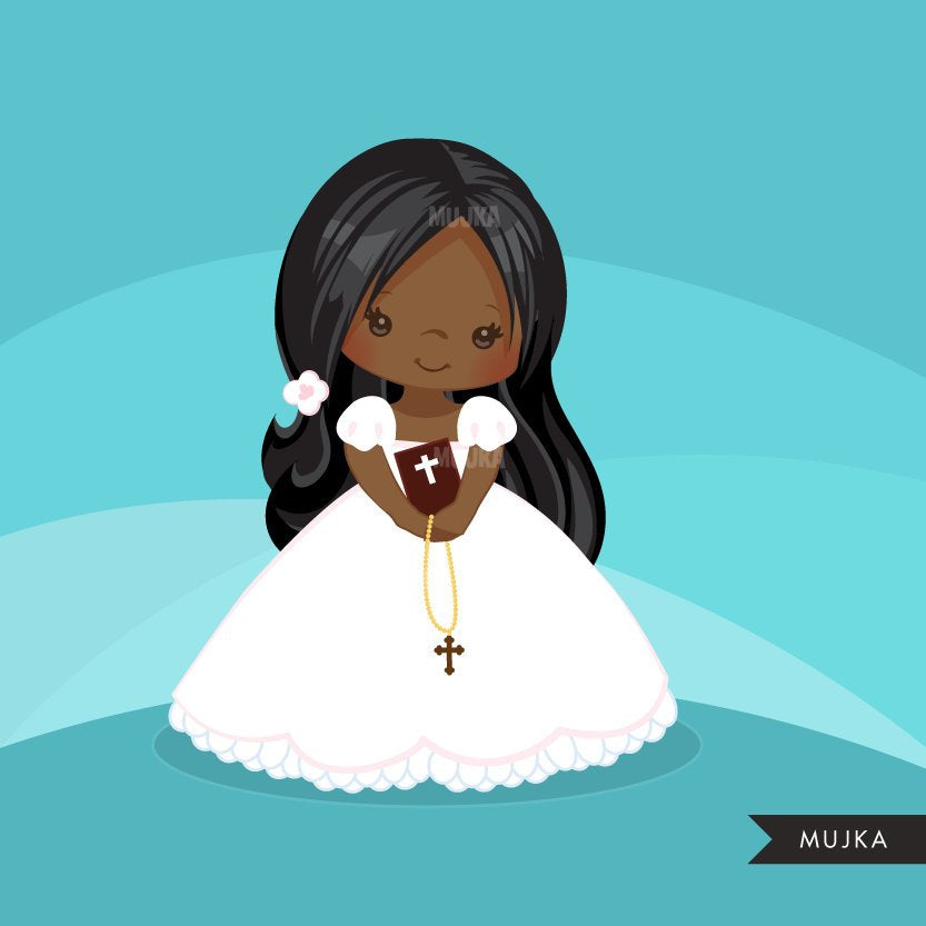 First Communion Clipart for Girl. Communion characters religious