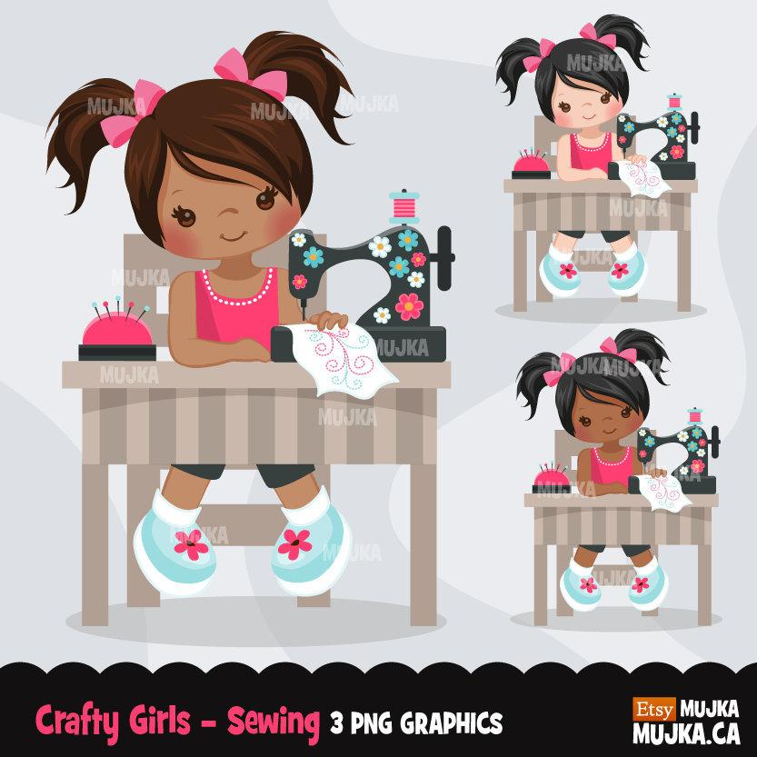 Sewing Girl clipart