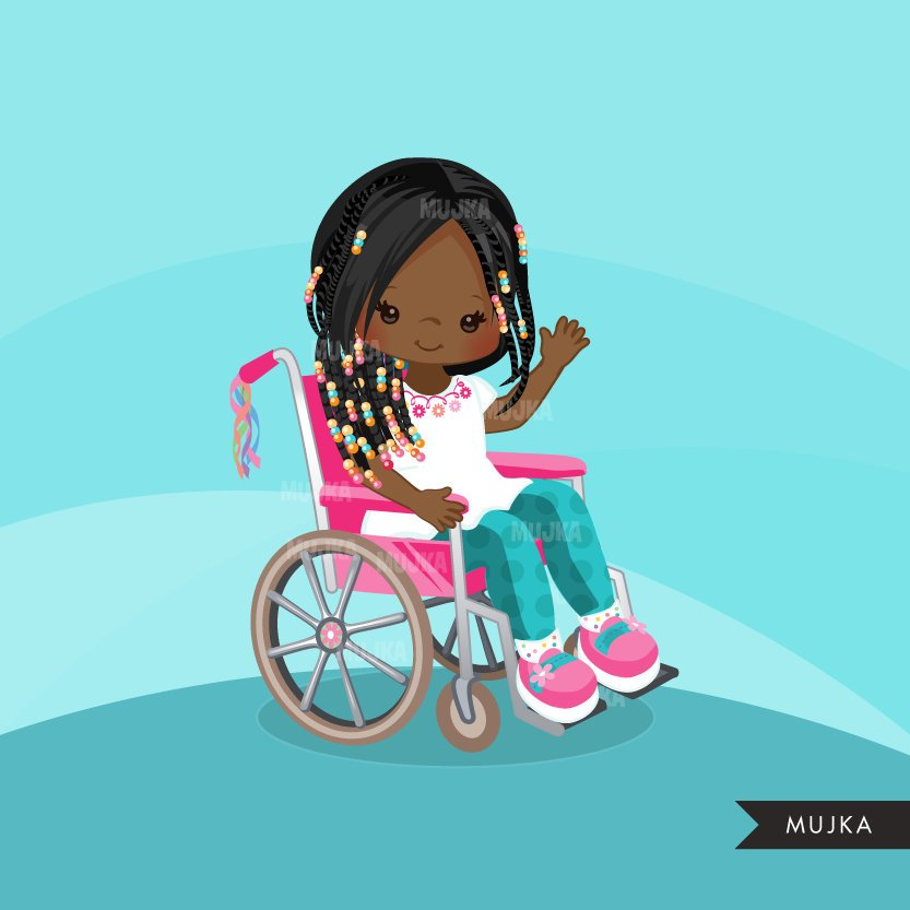 Special Needs Wheelchair clipart, black girl with disability