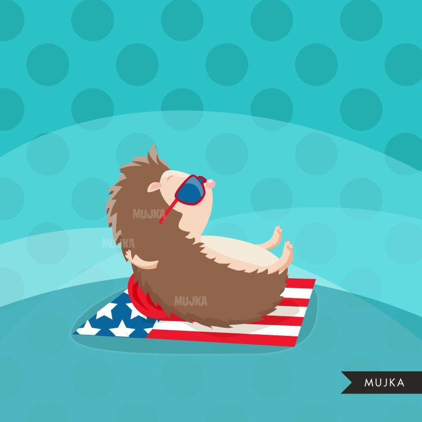4th of July Animals Clipart. Sloth, turtle, elephant & Hedgehog