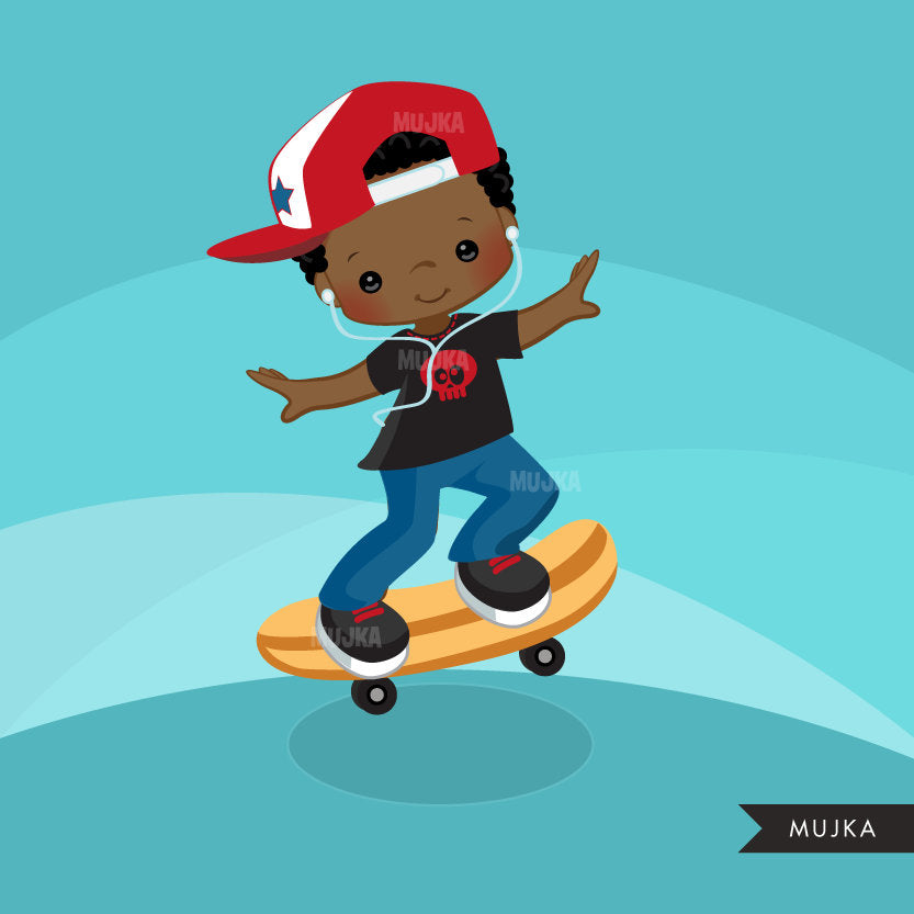 Skateboarding boy Clipart