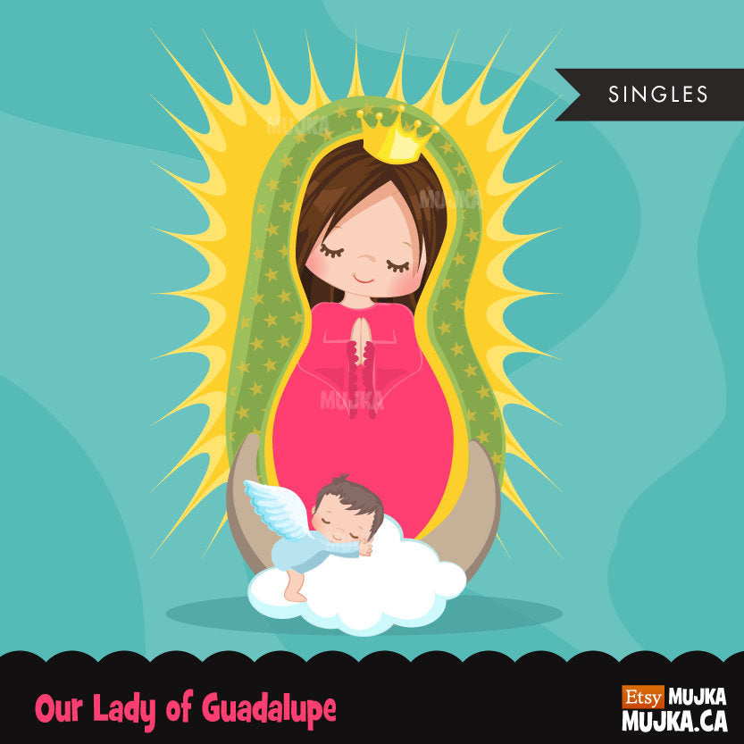 Virgin of Guadalupe clipart illustration, religious girl graphic
