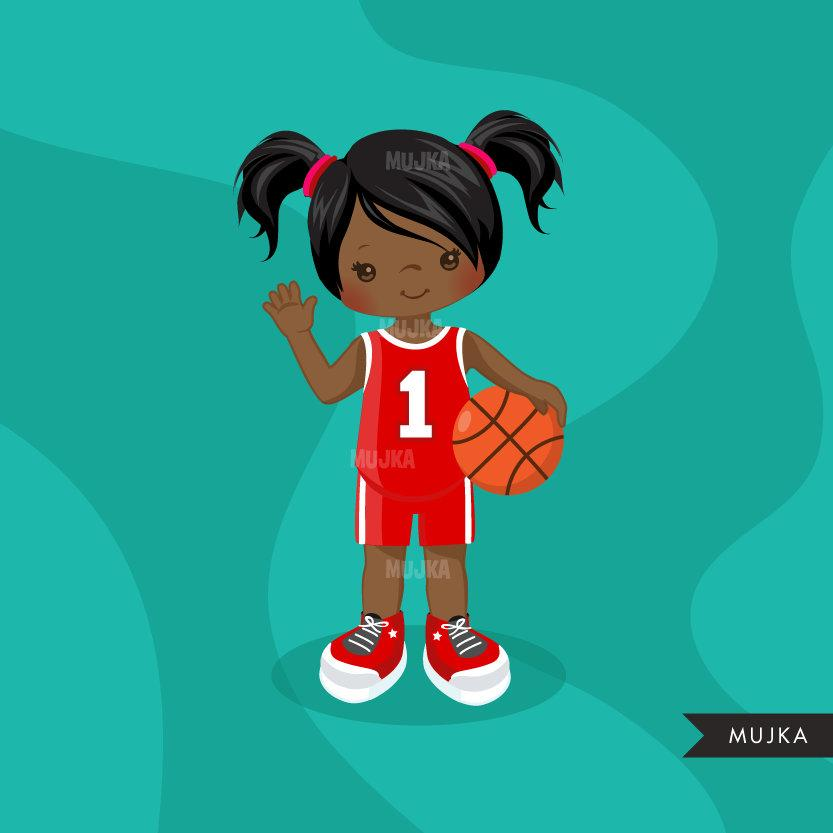 Basketball Girl red jersey clipart